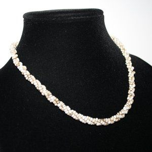 Cream tan glass beaded toggle necklace